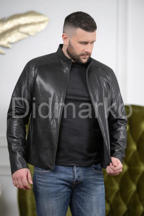 Стильная мужская двусторонняя кожаная куртка черного цвета