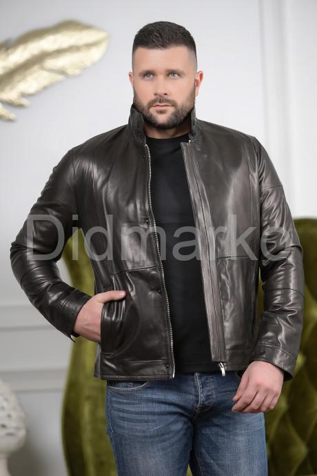 Купить Короткая мужская куртка кожаная с планкой в Москве и Санкт-Петербурге