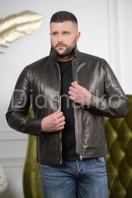 Короткая мужская куртка кожаная с планкой