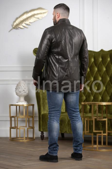 Мужская удлиненная кожаная куртка на пуговицах