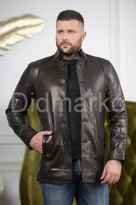 Купить Мужская удлиненная кожаная куртка на пуговицах в Москве и Санкт-Петербурге