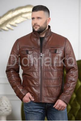 Мужская кожаная куртка цвета виски
