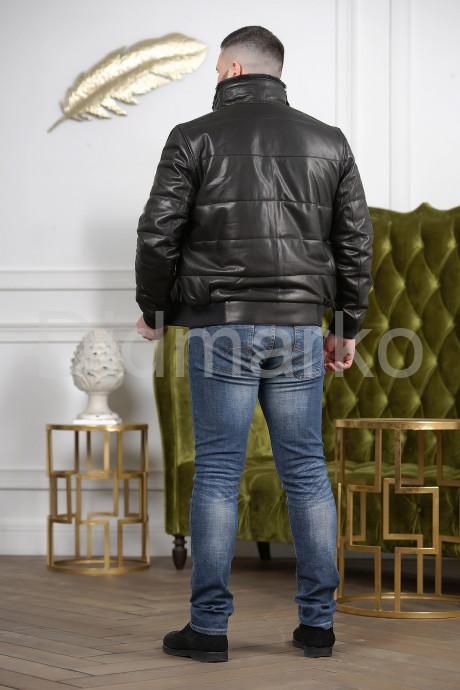 Мужской кожаный пуховик на резинке