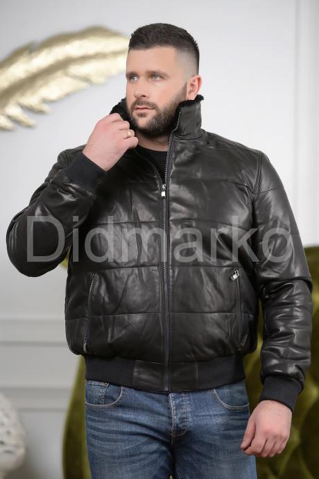 Купить Мужской кожаный пуховик на резинке в Москве и Санкт-Петербурге