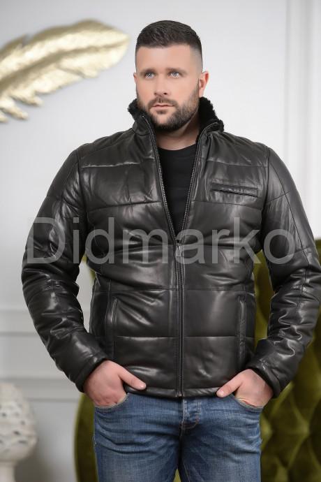 Купить Короткий кожаный пуховик для мужчин в Москве и Санкт-Петербурге