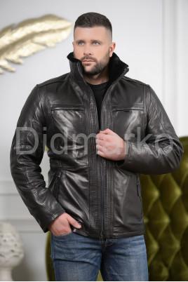 Мужская дубленка черного цвета 2021