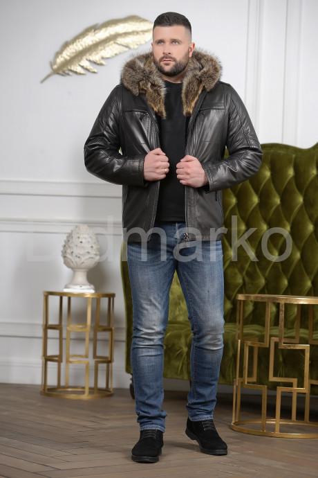 Мужской кожаный пуховик с капюшоном на молнии
