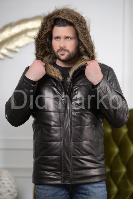 Купить Мужской кожаный пуховик с капюшоном на молнии в Москве и Санкт-Петербурге