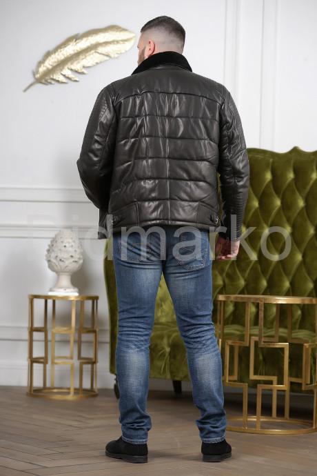Короткая зимняя кожаная куртка для мужчин