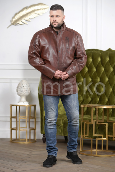 Удлиненная мужская кожаная куртка цвета виски