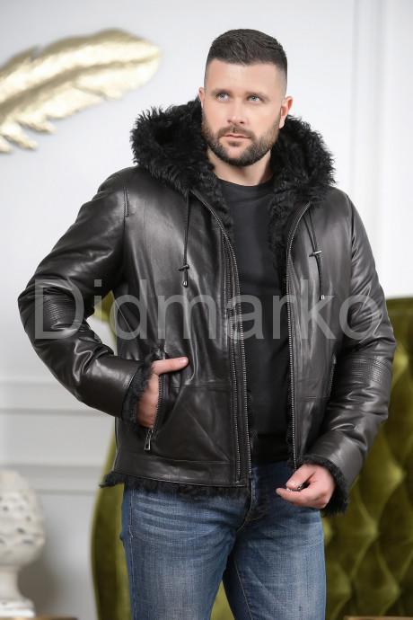 Мужская дубленка черного цвета 2021-2022