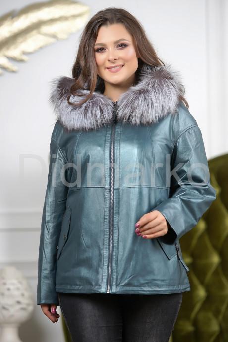Кожаная куртка больших размеров изумрудного цвета