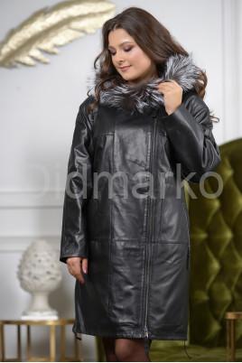 Женская кожаная куртка с мехом чернобурки удлиненная
