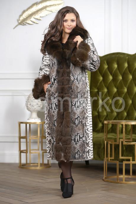 Купить Роскошная женская дубленка с принтом питона в Москве и Санкт-Петербурге
