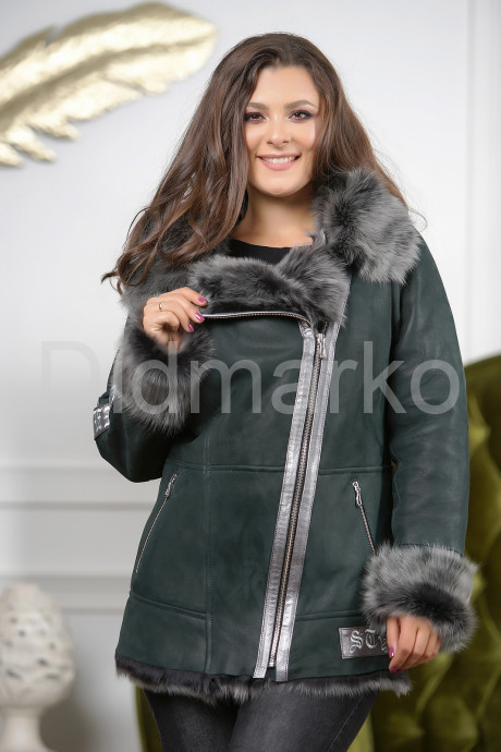Купить Изумрудная женская дубленка с мехом тоскана в Москве и Санкт-Петербурге