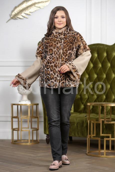 Женская дубленка автоледи с леопардовым принтом