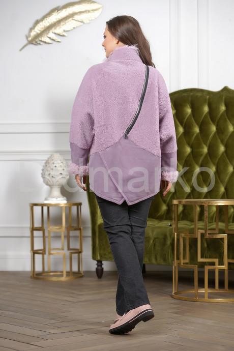Женская дубленка лавандового цвета