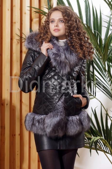 Молодежный кожаный пуховик с чернобуркой