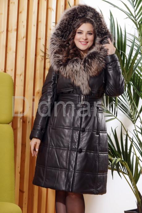 Купить Классический кожаный пуховик черного цвета с отливом в Москве и Санкт-Петербурге