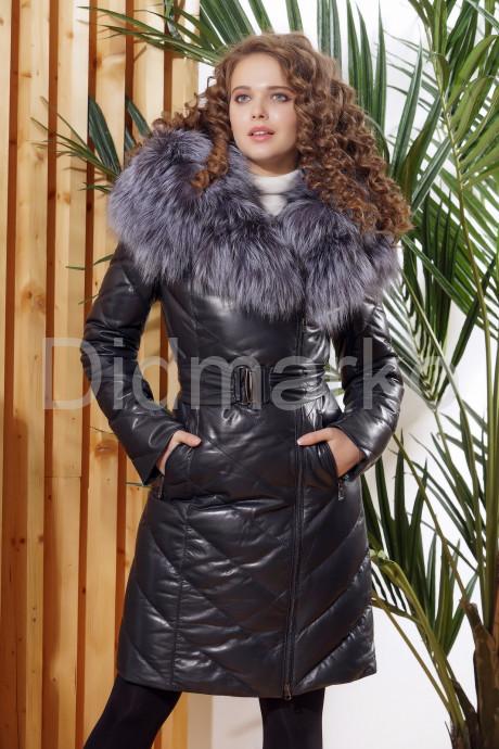 Купить Красивый кожаный пуховик темно-синего цвета в Москве и Санкт-Петербурге