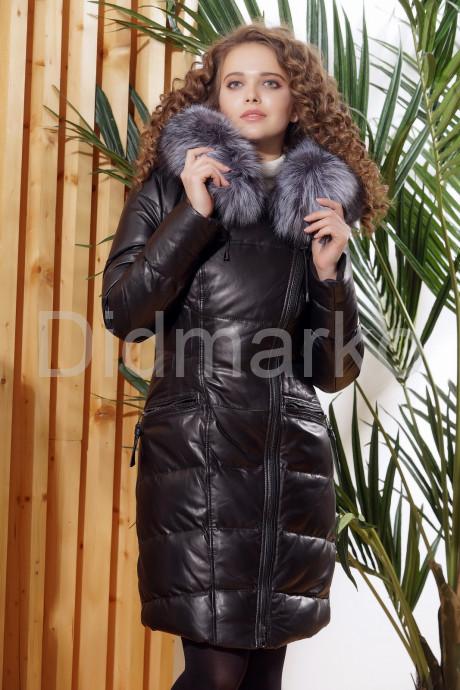 Купить Приталенный кожаный пуховик в Москве и Санкт-Петербурге