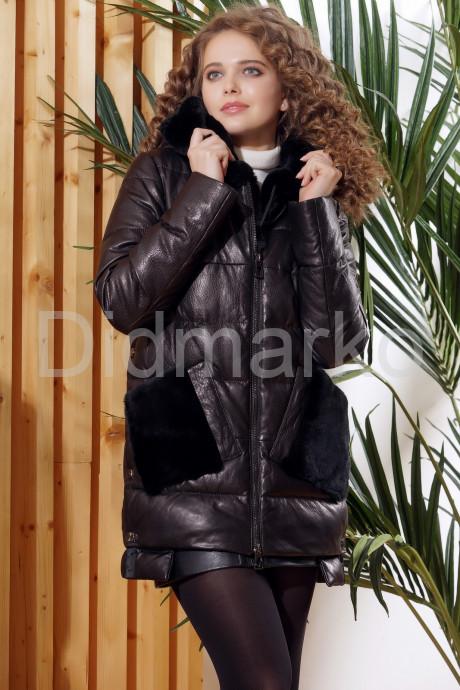 Купить Зимняя кожаная куртка с меховыми карманами в Москве и Санкт-Петербурге