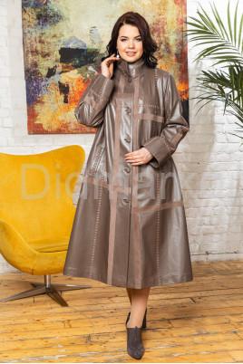 Комбинированный трапециевидный кожаный плащ больших размеров BERFIN120