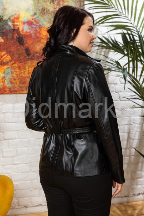 Классический кожаный женский пиджак на пуговицах