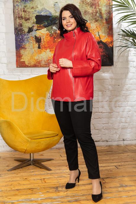 Перфорированная кожаная женская куртка кораллового цвета BURCU