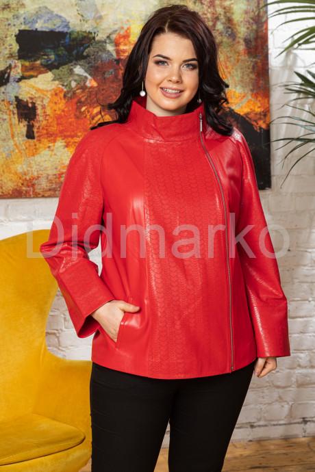 Купить Перфорированная кожаная женская куртка кораллового цвета BURCU в Москве и Санкт-Петербурге