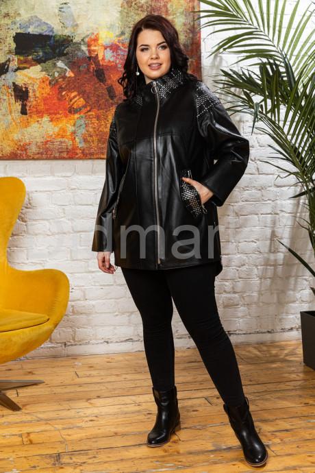 Удлиненная кожаная куртка черного цета