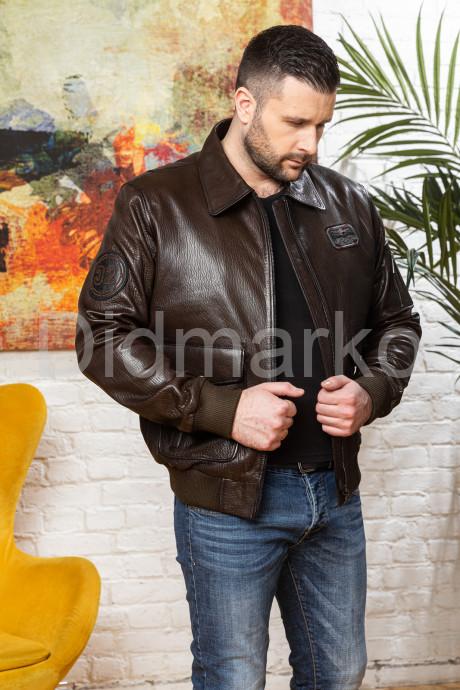 Мужской кожаный бомбер больших размеров