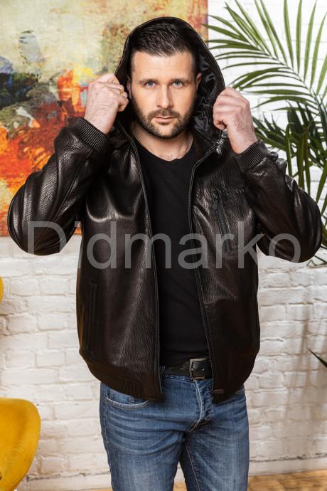 Мужская кожаная куртка на резинке больших размеров