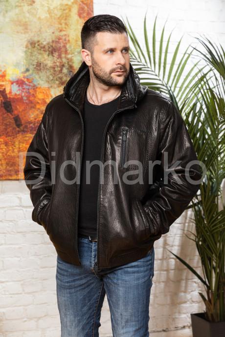 Купить Мужская кожаная куртка на резинке больших размеров в Москве и Санкт-Петербурге