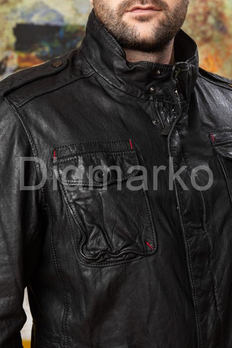 Мужская кожаная куртка в стиле милитари 2021