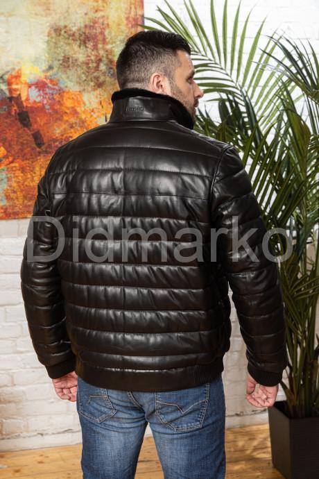Короткий кожаный пуховик для мужчин больших размеров