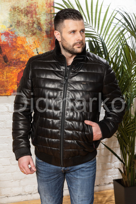 Купить Короткий кожаный пуховик для мужчин больших размеров в Москве и Санкт-Петербурге