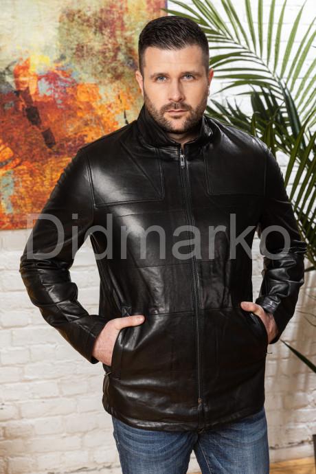 Купить Мужской полуприталенный кожаный пиджак на молнии в Москве и Санкт-Петербурге