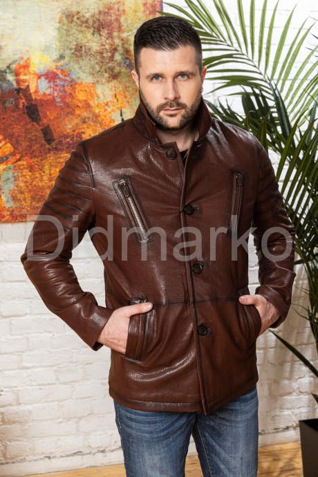 Купить Мужская кожаная куртка цвета виски с отложным воротником в Москве и Санкт-Петербурге