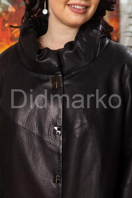 Удлиненная женская кожаная куртка чернильного цвета