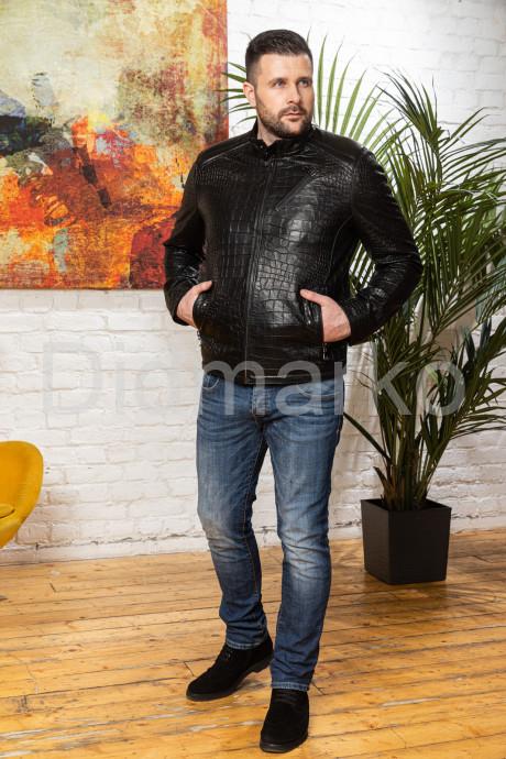 Мужская кожаная куртка под кроку