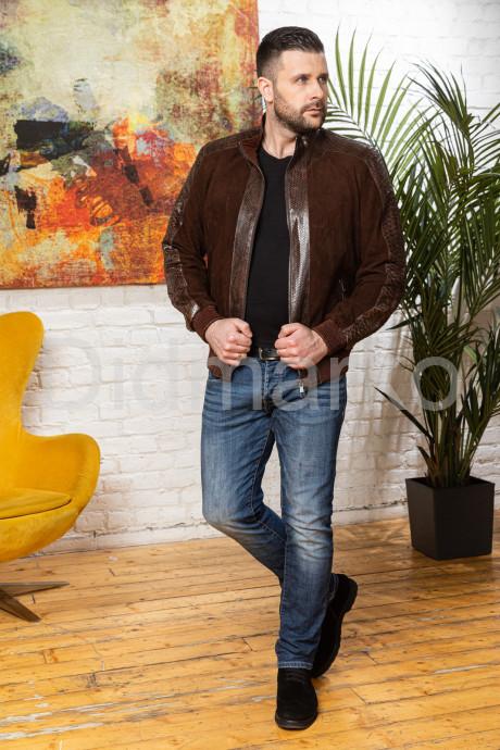 Мужская комбинированная замшевая куртка