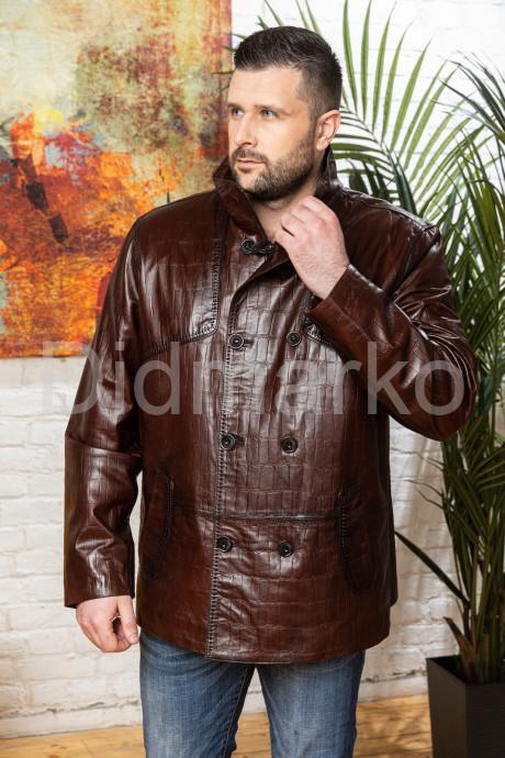 Мужская кожаная куртка больших размеров кроко