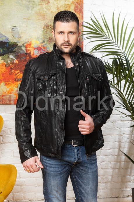 Купить Мужская куртка из стиранной кожи в стиле милитари в Москве и Санкт-Петербурге