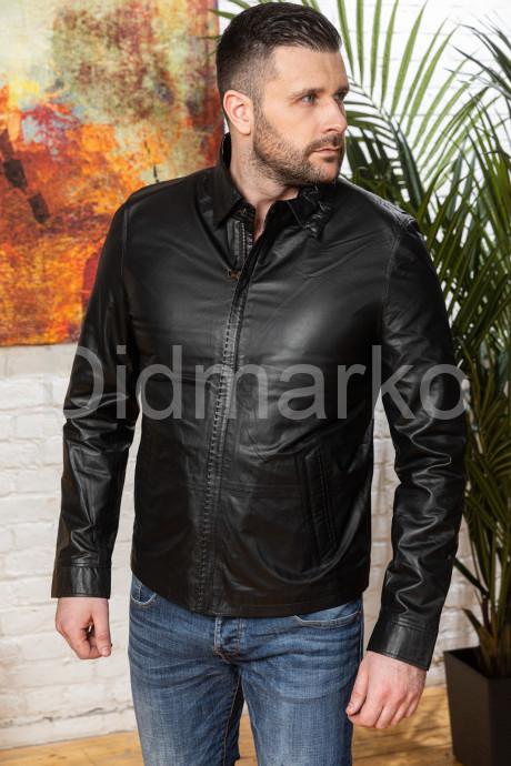 Купить Мужская облегченная кожаная куртка черного цвета в Москве и Санкт-Петербурге