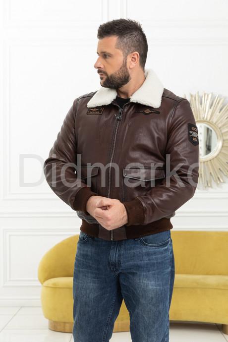 Демисезонная кожаная куртка на резинке