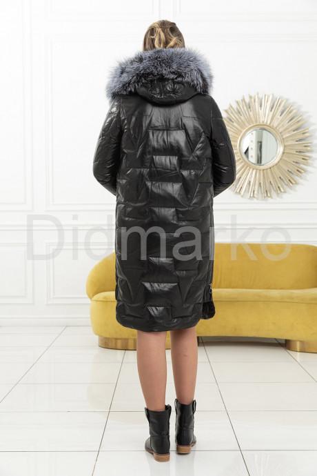 Кожаный женский пуховик с мехом чернобурки