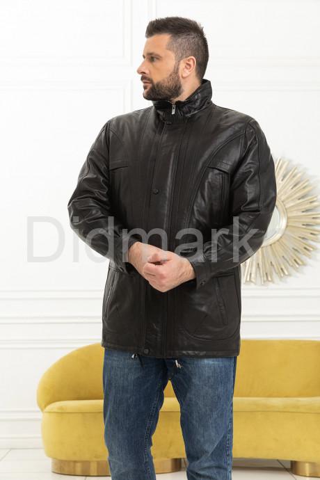 Купить Удлиненная мужская кожаная куртка черного цвета в Москве и Санкт-Петербурге