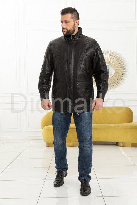 Удлиненная мужская кожаная куртка черного цвета