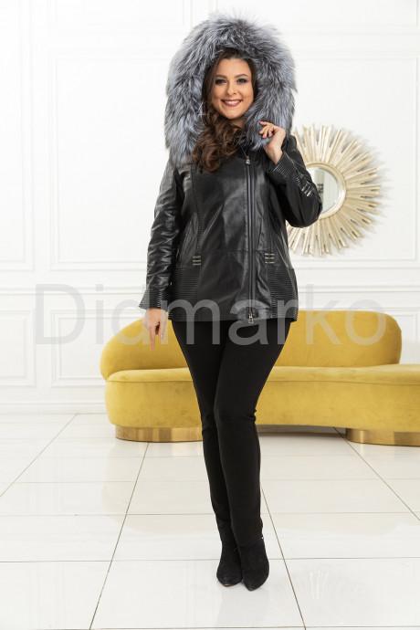 Демисезонная кожаная куртка с мехом чернобурки